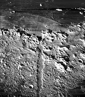 Vallis Alpes - Oblique view of Vallis Alpes from Lunar Orbiter 5.  Mare Imbrium is in the background.