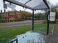 Vandalised bus shelter in Barnsley, South Yorkshire, England.jpg