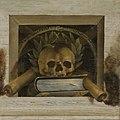 Vanitasstilleven met doodshoofd met een lauwerkrans en twee brandende kaarsen Rijksmuseum SK-A-4254-3.jpeg