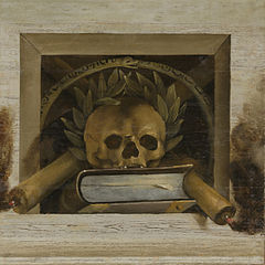 Vanitas Still Life with Skull with a Laurel Wreath and Two Burning Candles