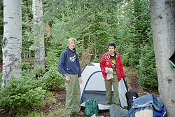 Varsity Scouts of the Boy Scouts of America shown here tent camping.