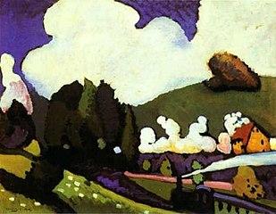 Paysage près de Murnau avec une locomotive
