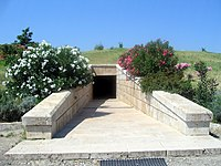 "The entrance to the ""Great Tumulus"" Museum at Vergina."