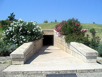 "Ancient Macedonians - The entrance to the ""Great Tumulus"" Museum at Vergina"