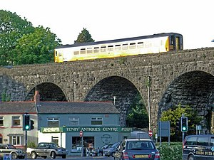 West Wales lines - Train passing over Tenby Viaduct