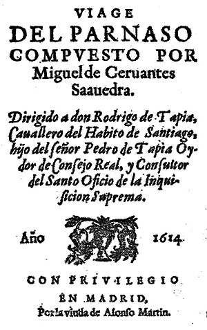 1614 in poetry - Frontispiece of Miguel de Cervantes' Viaje del Parnaso