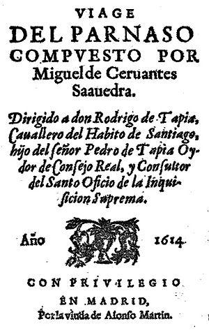 1614 in poetry - Frontispiece of Miguel de Cervantes' Viaje del Parnaso