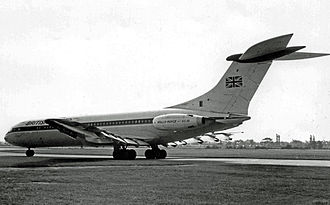 British United Airways - BUA Vickers VC10 1103 G-ATDJ in the airline's original livery, seen at Manchester Airport in 1966.