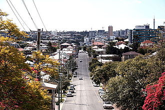West End, Queensland - View down Boundary Street towards West End from Dornoch Terrace