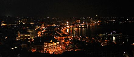 Baku, the capital of Azerbaijan is the largest city by the Caspian Sea. - Caspian Sea