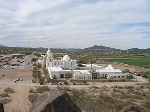 Santa Maria Mountains - view westward over southern Avra Valley, San Xavier del Bac Mission