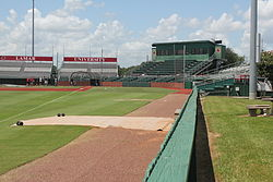 Vincent-Beck Stadium from the third base foul pole.
