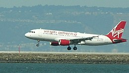 Virgin America Airbus A320 arriving at SFO 3-31-09.JPG