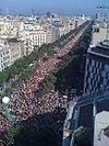 """Manifestació """"Catalunya, nou estat d'Europa"""" durant la Diada Nacional catalana de l'11 de setembre de 2012, que va aplegar al voltant de dos milions de manifestants a Barcelona."""