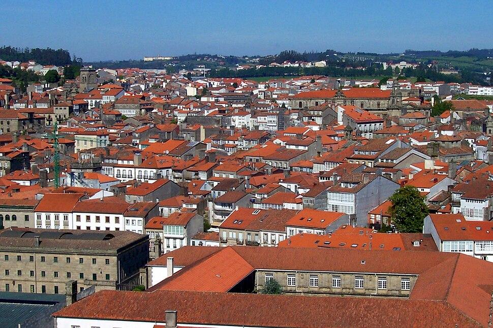 Vista aéra da zona vella de Santiago de Compostela