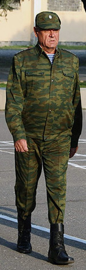 Podvorotnichok - General Vladimir Boldyrev wearing a general officer's Flora pattern field uniform with an undercollar seen