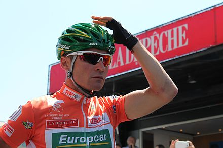 Voeckler in the race leader's jersey at the 2013 Route du Sud Voeckler RDS 2013.jpg