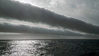 Arcus cloud - A sequence of volutus clouds at sea in the Drake Passage of the Southern Ocean