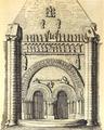 Vouvant portail nord église Notre-Dame, croquis du Comte Émilien Rorthay de Monbail.png