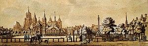 Vrijthof - The Vrijthof around 1750 - right the perron