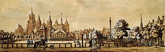 Vrijthof - The Vrijthof around 1750 - right the perron