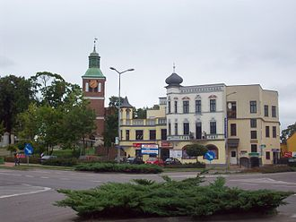 Węgorzewo - Post-war buildings in Węgorzewo Town Centre. Much of the town was destroyed by Soviet shelling during World War II, when it was part of Germany as Angerburg.