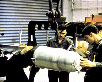 Thermonuclear weapon - Photographs of warhead casings, such as this one of the W80 nuclear warhead, allow for some speculation as to the relative size and shapes of the primaries and secondaries in U.S. thermonuclear weapons.