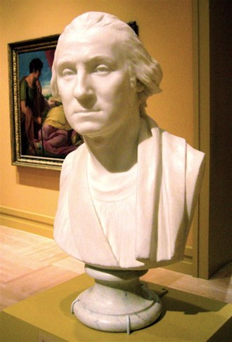 Washington quarter - Plaster bust of Washington by Houdon (1786); Houdon's work was adapted for Flanagan's profile image.