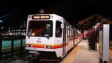 W Line train at Jefferson County station heading back to Union Station in Denver.