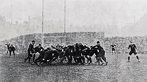 Wales national rugby union team - A scrum in the Wales victory over New Zealand's Original All Blacks in 1905