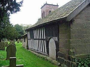 St Werburgh's Church, Warburton - Timber framing on north wall of old church