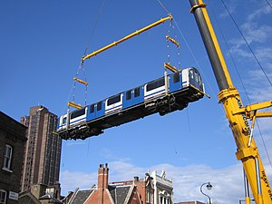 Waterloo & City line - A carriage being lifted out of Waterloo depot