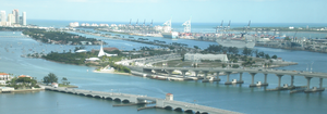 Watson Island and the MacArthur Causeway, with the Venetian Causeway in the foreground