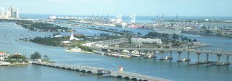 MacArthur Causeway - The entirety of the causeway, connecting Downtown and South Beach