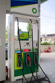 Gasoline pump machine at a filling station that is used to pump fuels