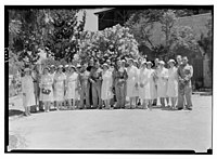 Wedding at St. George's Cathedral on June 3rd, 1942. Bridal group in hostel garden LOC matpc.14216.jpg