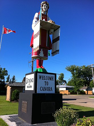 "Canora, Saskatchewan - The ""Welcome to Canora"" statue, ""Lesia"""