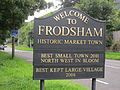 Welcome to Frodsham sign, A56 road.JPG