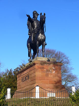 Equestrian statue of the Duke of Wellington on Round Hill Wellington Monument, Aldershot - geograph.org.uk - 1743310.jpg