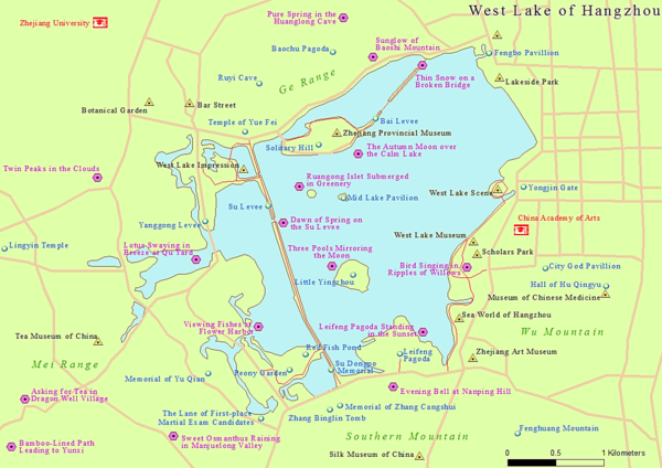 Map of the West Lake in Hangzhou, China West Lake Map.png