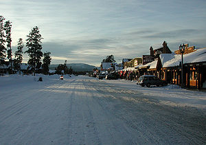 West Yellowstone, Montana - Yellowstone Avenue in winter