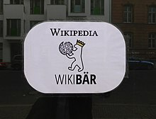 WikiBär logo on the storefront of the local space in Berlin