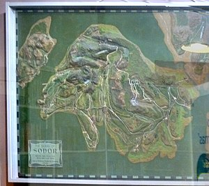 Sodor (fictional island) - Awdry's relief map of Sodor, as framed on the wall of his study