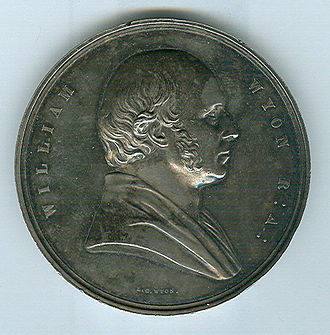 William Wyon - Posthumous medallic portrait of William Wyon by his son L. C. Wyon (1854)