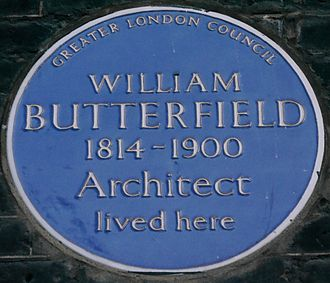 William Butterfield - Blue plaque, 42 Bedford Square, London