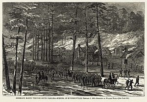 Harper's Weekly - Sherman's burning of McPhersonville, South Carolina, illustrated by William Waud (March 4, 1865)