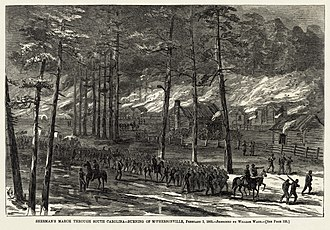 Carolinas Campaign - Sherman in South Carolina: The burning of McPhersonville, 1865. (A sketch by William Waud from Harper's Weekly in 1865)