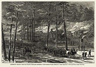 William Waud - Image: William Waud Burning of Mc Phersonville 1865 final Harper's Weekly version