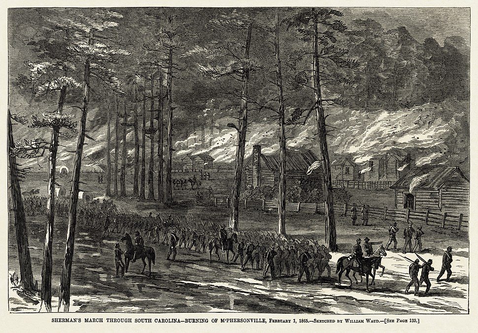 William Waud - Burning of McPhersonville 1865 - final Harper%27s Weekly version