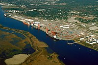 The port in Wilmington on the Cape Fear River estuary